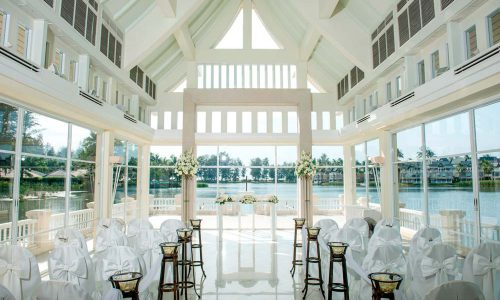 Thailand's waterborne culture, the charming Angsana Laguna Wedding Chapel